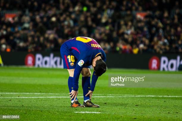 Leo Messi from Argentina of FC Barcelona during the La Liga match between FC Barcelona v Deportivo at Camp Nou Stadium on December 17 2017 in...