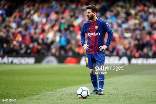 10 Leo Messi from Argentina of FC Barcelona during the La Liga match between FC Barcelona v CF Valencia at Camp Nou Stadium on 14 of April of 2018 in...