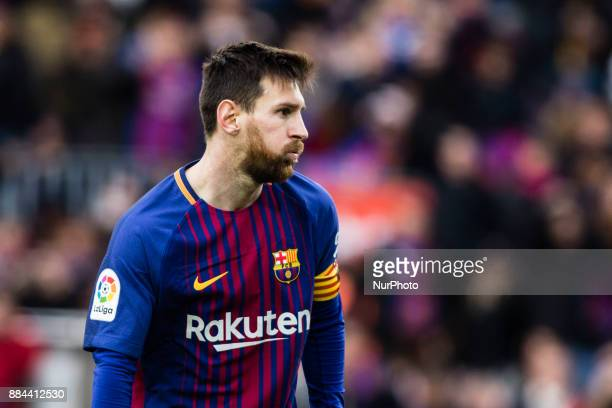 Leo Messi from Argentina of FC Barcelona lamenting a missed goal during the La Liga match between FC Barcelona v Celta de Vigo at Camp Nou Stadium on...