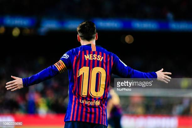10 Leo Messi from Argentina of FC Barcelona returns to play after the recovery of his arm injury during the Spanish championship La Liga football...