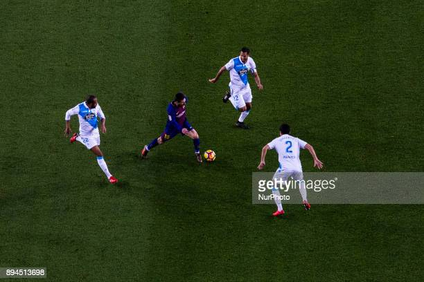 Leo Messi from Argentina of FC Barcelona rounded of defensors during the La Liga match between FC Barcelona v Deportivo at Camp Nou Stadium on...