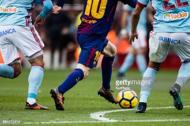 Leo Messi from Argentina of FC Barcelona shoes during the La Liga match between FC Barcelona v Celta de Vigo at Camp Nou Stadium on December 2 2017...