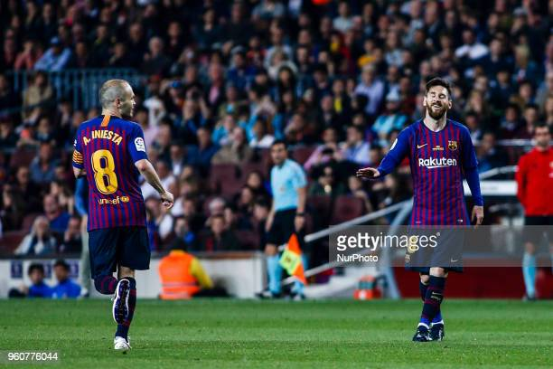 10 Leo Messi from Argentina of FC Barcelona with 08 Andres Iniesta from Spain of FC Barcelona during the Andres Iniesta farewell at the end of the La...