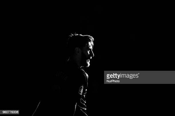 Image was converted to Black and White Leo Messi from Argentina of FC Barcelonad black and white portrait during the Andres Iniesta farewell at the...