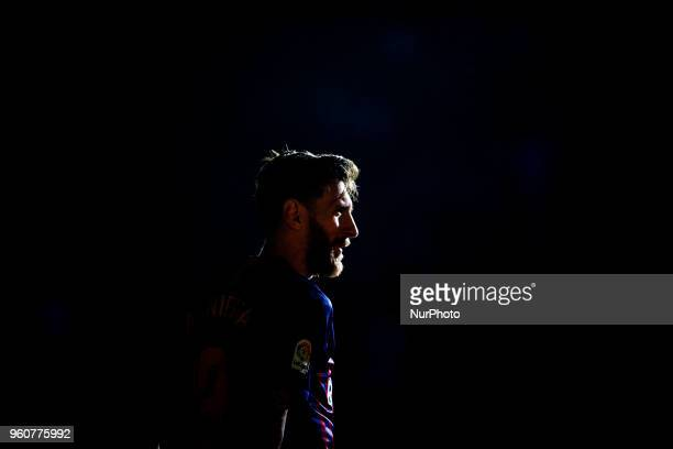 Leo Messi from Argentina of FC Barcelonad portrait during the Andres Iniesta farewell at the end of the La Liga football match between FC Barcelona v...