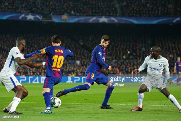 Leo Messi Gerard Pique and NGolo Kante during the match between FC Barcelona and Chelsea FC for the secong leg of the 1/8 final of the UEFa Champions...
