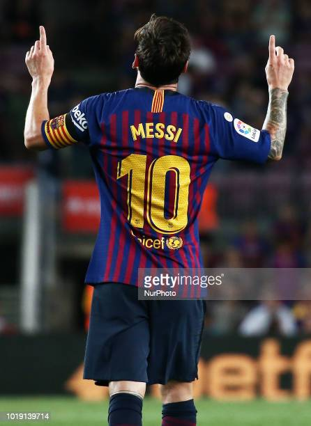 Leo Messi goal celebration during the match between FC Barcelona and Deportivo Alaves corresponding to the week 1 of que spanish league played at the...