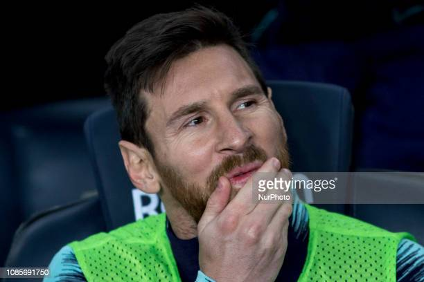 Leo Messi in the bench prior the spanish league match between FC Barcelona and Leganes at Camp Nou Stadium in Barcelona, Catalonia, Spain on January...