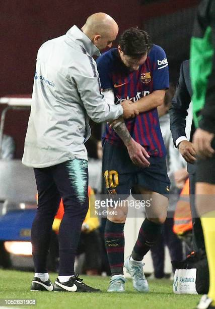 Leo Messi is injured during the match between FC Barcelona and Sevilla CF corresponding to the week 9 of the Liga Santander played at the Camp Nou on...