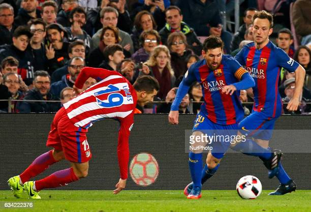 Leo Messi Ivan Rakitic and Lucas Hernandez during the 1/2 final King Cup match between FC Barcelona v Atletico de Madrid in Barcelona on February 07...