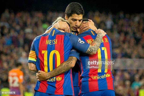Leo Messi Luis Suarez and Neymar Jr during the UEFA Champions League match between FC Barcelona and Manchester City in Barcelona on October 15 2016