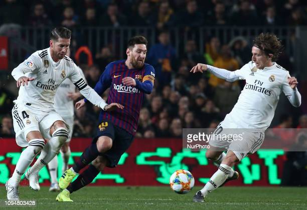 Leo Messi Luka Modric and Sergio Ramos during the match between FC Barcelona and Real Madrid corresponding to the first leg of the 1/2 final of the...