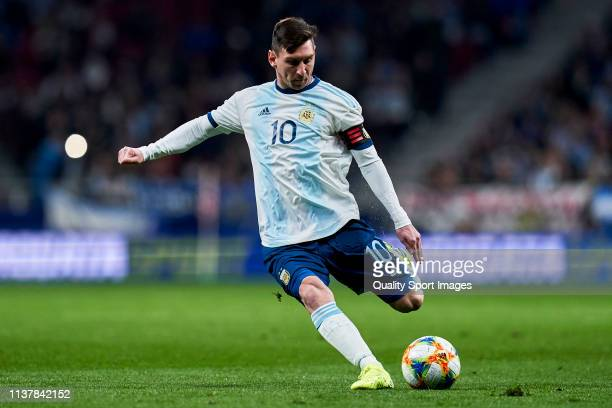 Leo Messi of Argentina in action during the international friendly match between Argentina and Venezuela at Estadio Wanda Metropolitano on March 22...