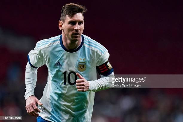 Leo Messi of Argentina in action during the international friendly match between Argentina and Venezuela at Estadio Wanda Metropolitano on March 22,...