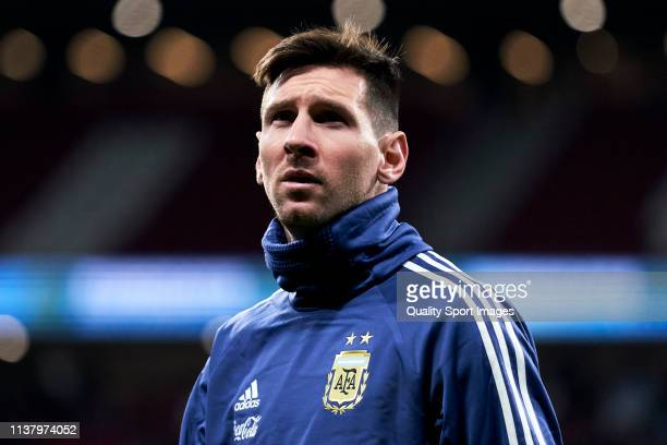 Leo Messi of Argentina looks during warm up during the international friendly match between Argentina and Venezuela at Estadio Wanda Metropolitano on...