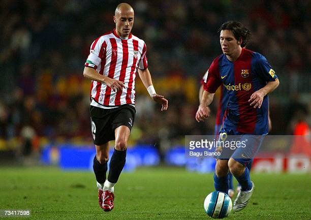 Leo Messi of Barcelona and Yeste of Athletic run during the match between FC Barcelona and Athletic Club de Bilbao of La Liga at the Camp Nou stadium...