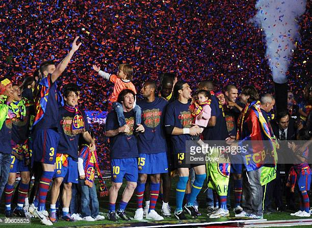 Leo Messi of Barcelona celebrates with teamates after Barcelona beat Real Valladolid 40 to clinch La Liga title after their match at Camp Nou stadium...