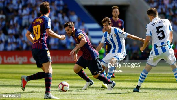 Leo Messi of Barcelona controls the ball during the La Liga match between Real Sociedad and FC Barcelona at Estadio Anoeta on September 15 2018 in...