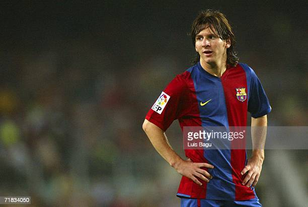 Leo Messi of Barcelona in action during the match between FC Barcelona and Osasuna of La Liga on September 2006 played at the Camp Nou stadium in...