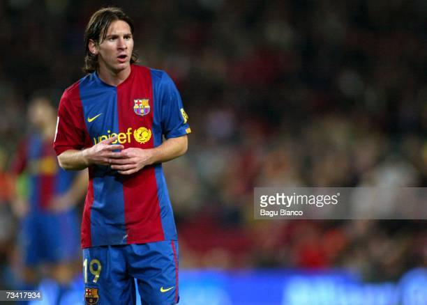 Leo Messi of Barcelona pauses during the match between FC Barcelona and Athletic Club de Bilbao of La Liga at the Camp Nou stadium February 25 2007...