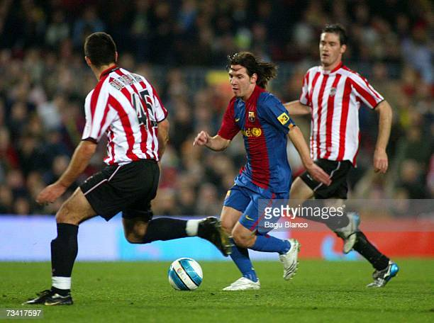 Leo Messi of Barcelona runs during the match between FC Barcelona and Athletic Club de Bilbao of La Liga at the Camp Nou stadium February 25 2007 in...