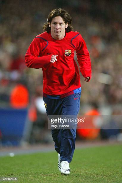 Leo Messi of Barcelona warms up during the La Liga match between FC Barcelona and Racing de Santander at the Camp Nou stadium on February 11 2007...