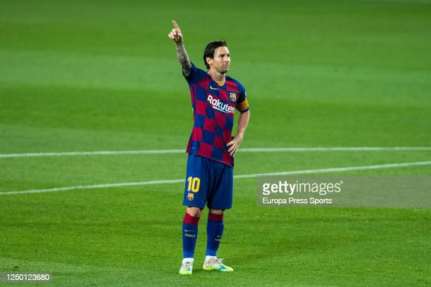 Leo Messi of FC Barcelona celebrates a goal during the spanish league, LaLiga, football match played between FC Barcelona and CD Leganes at Camp Nou...