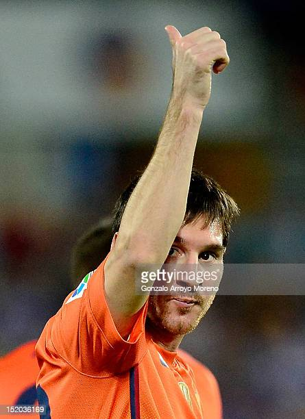 Leo Messi of FC Barcelona celebrates scoring their second goal during the La Liga match between Getafe CF and FC Barcelona at Coliseum Alfonso Perez...
