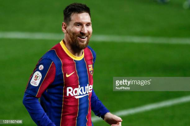 Leo Messi of FC Barcelona celebrating a goal during the Spanish Copa del Rey semi final match between FC Barcelona and Sevilla FC at Camp Nou Stadium...