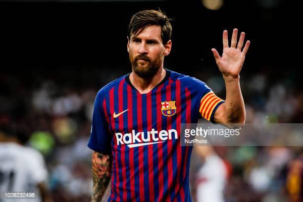 Leo Messi of FC Barcelona celebrating his goal during the La Liga game between FC Barcelona against Huesca in Camp Nou Stadium at Barcelona, on 02 of...