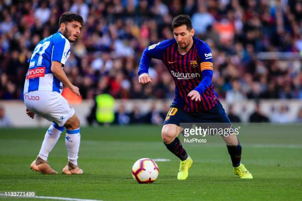 10 Leo Messi of FC Barcelona during the quotDerbyquot of La Liga match between FC Barcelona and RCD Espanyol in Camp Nou Stadium in Barcelona 30 of...