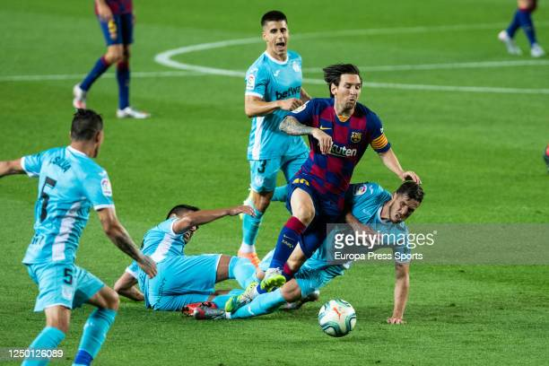Leo Messi of FC Barcelona in action during the spanish league LaLiga football match played between FC Barcelona and CD Leganes at Camp Nou Stadium on...