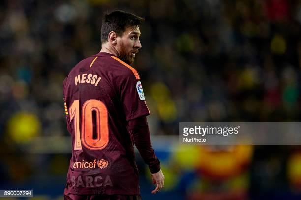 Leo Messi of FC Barcelona looks on during the La Liga game between Villarreal CF and FC Barcelona at Estadio de la Ceramica on December 10 2017 in...
