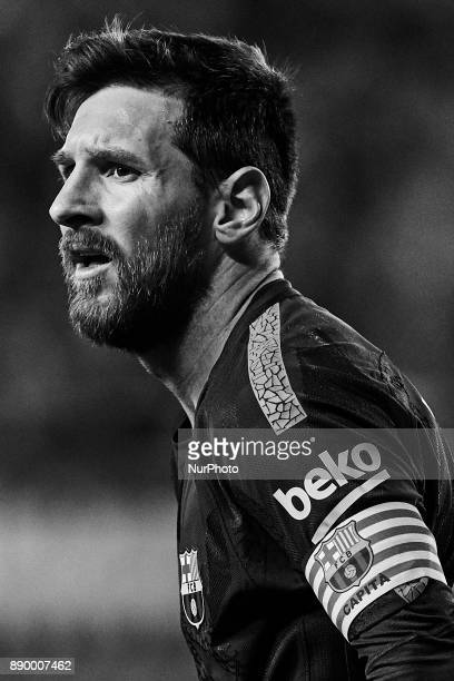 Image has been converted to black and white Leo Messi of FC Barcelona looks on during the La Liga game between Villarreal CF and FC Barcelona at...