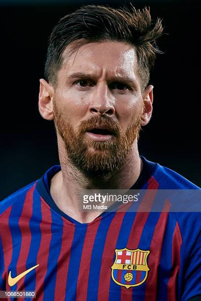 Leo Messi of FC Barcelona looks on during the La Liga match between FC Barcelona and Real Betis Balompie at Camp Nou on November 11 2018 in Barcelona...