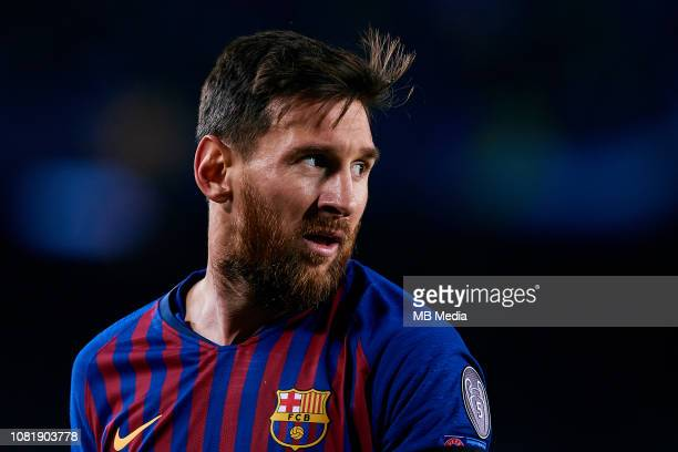 Leo Messi of FC Barcelona looks on during the UEFA Champions League Group B match between FC Barcelona and Tottenham Hotspur at Camp Nou on December...