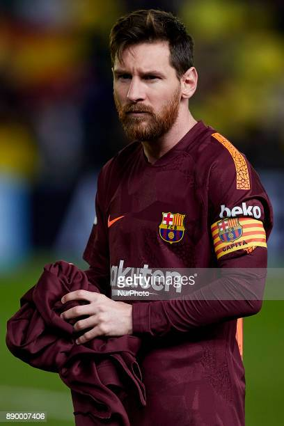 Leo Messi of FC Barcelona looks on prior to the La Liga game between Villarreal CF and FC Barcelona at Estadio de la Ceramica on December 10 2017 in...