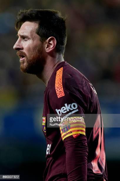 Leo Messi of FC Barcelona reacts during the La Liga game between Villarreal CF and FC Barcelona at Estadio de la Ceramica on December 10 2017 in...