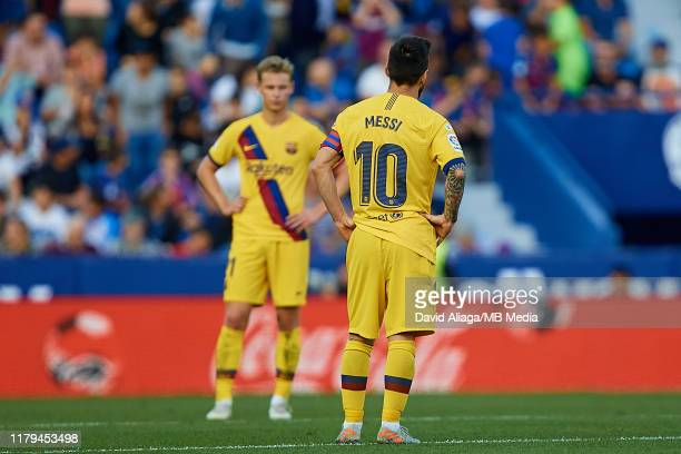Leo Messi of FC Barcelona reacts during the Liga match between Levante UD and FC Barcelona at Ciutat de Valencia on November 2 2019 in Valencia Spain