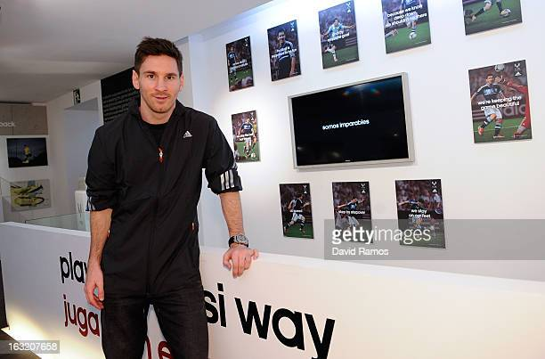 Leo Messi poses during his visit to the new adidas Messi Gallery on March 6 2013 in Barcelona Spain