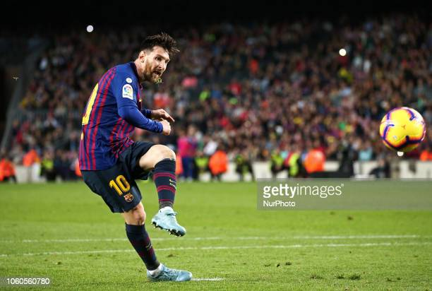 Leo Messi scores a penalty during the match between FC Barcelona and Real Betis Balompie corresponding to the week 12 of the spanish league played at...
