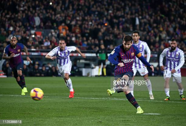 Leo Messi scores a penalty during the match between FC Barcelona and Valladolid CF corresponding to the week 34 of the Liga Santander played at the...