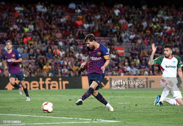 Leo Messi scores during the match between FC Barcelona and Deportivo Alaves corresponding to the week 1 of que spanish league played at the Camp Nou...
