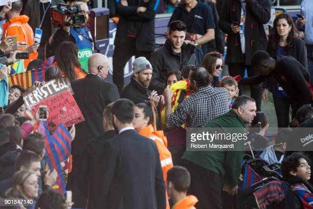 Leo Messi seen signing autographs during an open public session held at the Barcelona Ministadium on January 5 2018 in Barcelona Spain