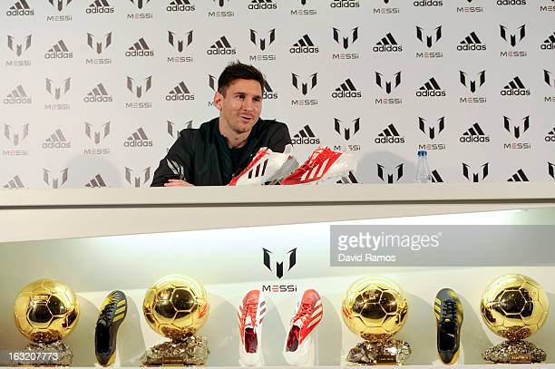 Leo Messi speaks at adidas press conference to mark the launch of the Messi Gallery by adidas and the new adizero f50 Messi boot on March 6 2013 in...