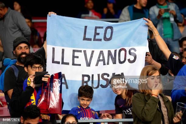Leo Messi supporters during La Liga match between FC Barcelona v SC Eibar in Barcelona on September 19 2017