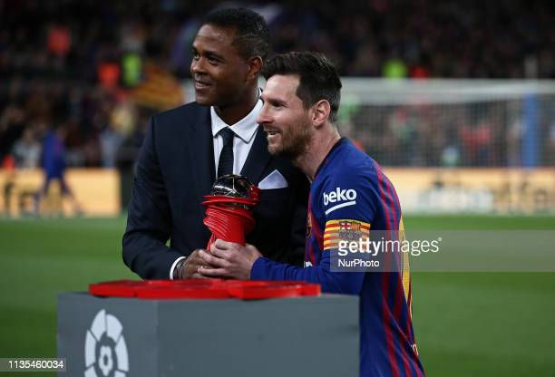Leo Messi voted best player of the month of March during the match between FC Barcelona and Atletico de Madrid corresponding to the week 30 of the...