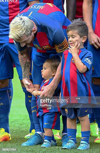 Leo Messi with his children Thiago and Mateo during La Liga match between FC Barcelona v Betis in Barcelona on August 20 2016