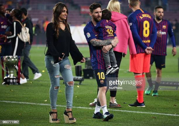 Leo Messi with his son Mateo and his wife Antonella roccuzzo during ghe celebrations after the the match between FC Barcelona and Real Sociedad...