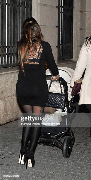 Leo Messi's girlfriend Antonella Rocuzzo and son Thiago Messi are seen on March 13 2013 in Barcelona Spain